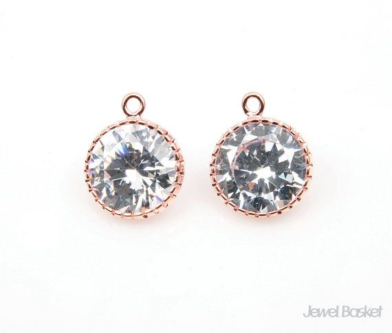 - Highly Polished Rose Gold Plated over Brass (Tarnish Resistant) - Cubic Zirconia and Brass / 10mm - 2pcs /1 pack