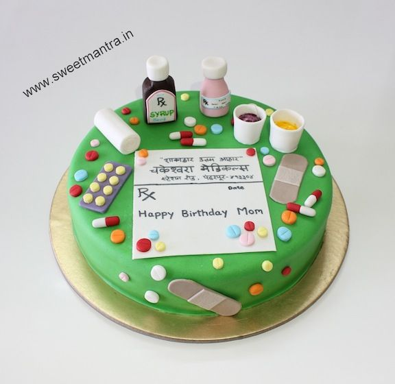 Homemade eggless personalized, handcrafted, designer Pharmacy, Medicine theme small customized 3D fondant birthday cake for pharmacist at Pune