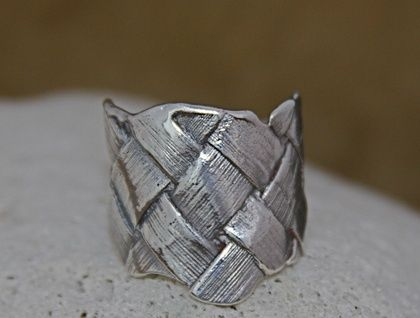 Silver Flax Weave Ring