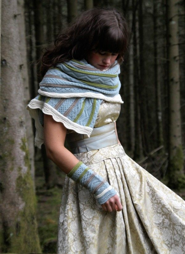 Norwegian fashion: by Oleana. I love how the scarf wraps around and the fingerless gloves. So cute!