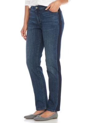 Crown & Ivy™ Women's Petite Tuxedo Stripe Skinny Jeans - Tuxedo Wash - 0 Petite