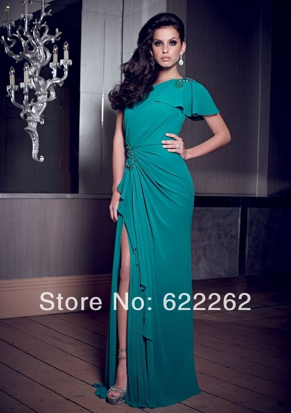 Большие скидки русалка один короткий рукав темно-зеленый атлас мать свадебные платья из бисера высокой сплит матери платья с длинными