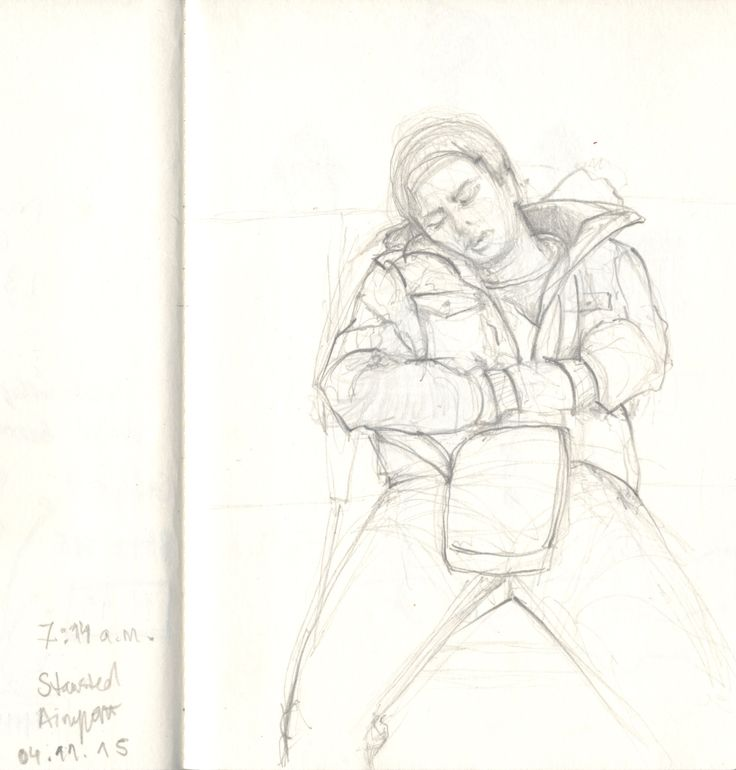 10 minute drawing of a random guy sleeping in front of me while waiting for flight.