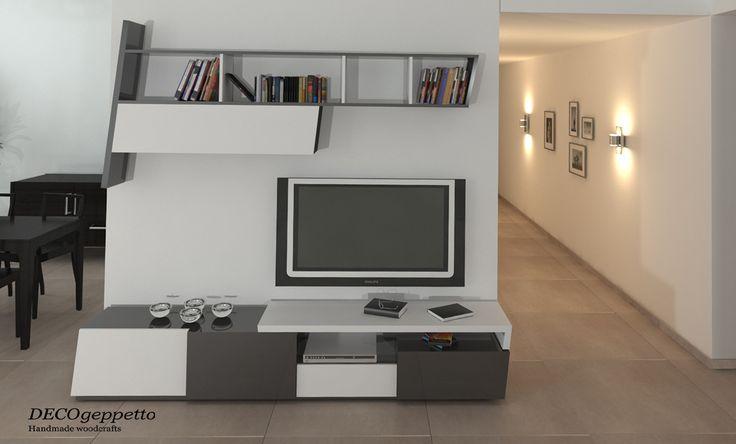 Σύνθεση επίπλων για Tv , σε λευκούς - μαύρους τόνους , μια μοντέρνα επιλογή για ένα σαλόνι