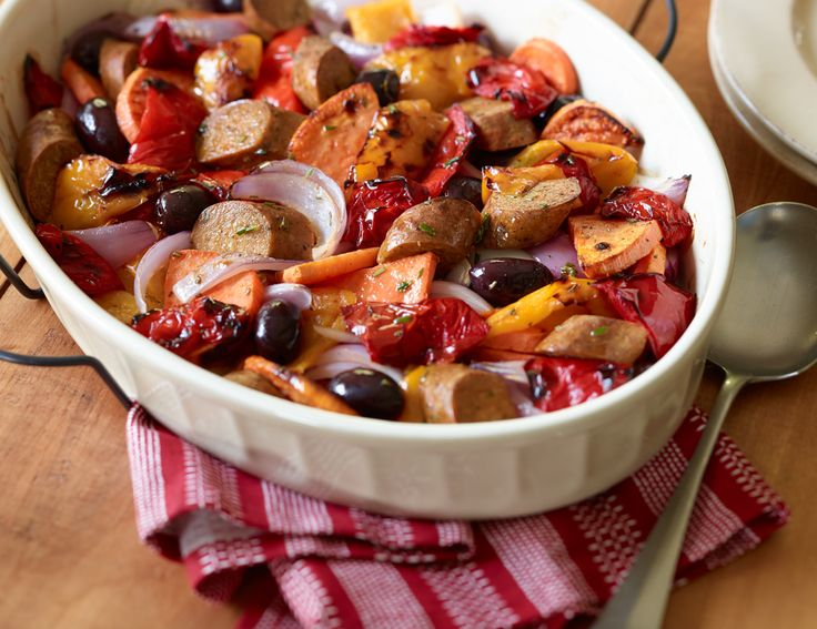 Yves Veggie Italian Sausages with Roasted Sweet Potatoes