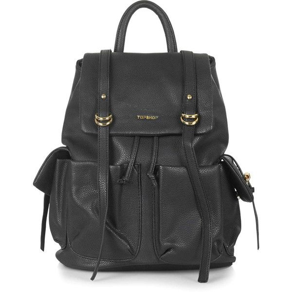 TOPSHOP Large PU Backpack found on Polyvore featuring bags, backpacks, black, leather, knapsack bags, black backpack, pu bag, black bag and rucksack bag