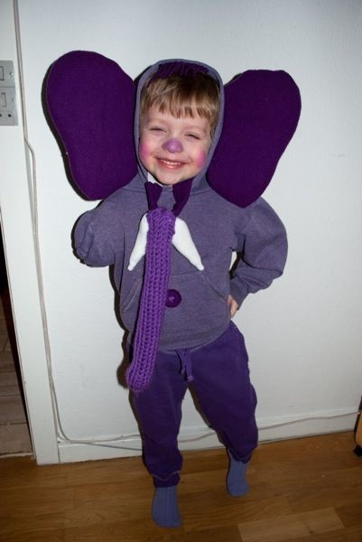 My son wanted a purple elephant costume the Danish Carnival (fastelavn).