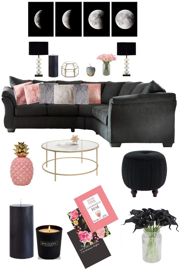 Blush And Black Living Room Decor Living Room Grey Black