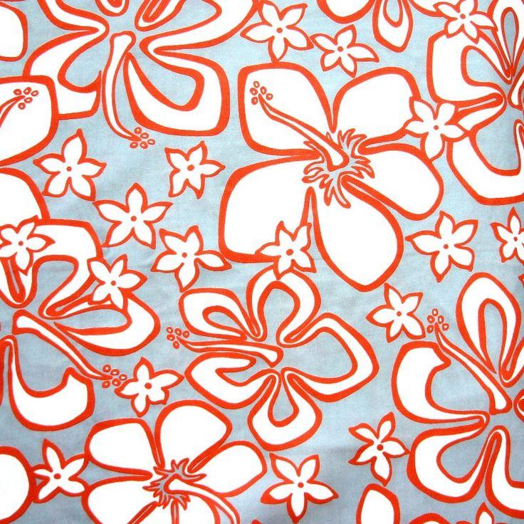 White/Rust Orange Hibiscus Floral on Light Grey Microfiber Boardshort Fabric