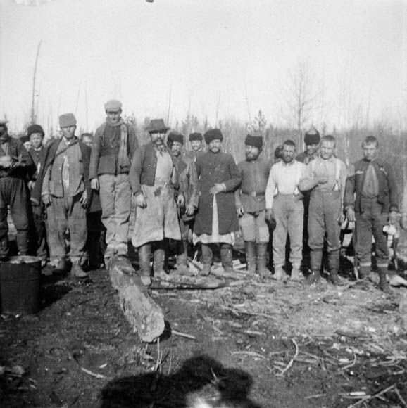 Slavic immigrants working on the Ontario and Rainy River Railway. (item 1)