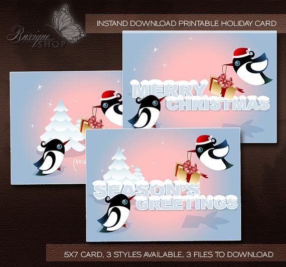 Cute Birds With Christmas Gift PRINTABLE Christmas Card by Ruxique