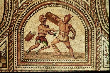 """Gladiator mosaic floor, 3rd century AD, Römerhalle, Bad Kreuznach, Germany. Gladiators (named after the Roman sword called the gladius) were mostly unfree individuals (condemned criminals, prisoners of war, slaves). All gladiators swore a solemn oath (sacramentum gladiatorium), similar to that sworn by the legionary but much more dire: """"I will endure to be burned, to be bound, to be beaten, and to be killed by the sword"""" (uri, vinciri, verberari, ferroque necari, Petronius Satyricon 117)."""