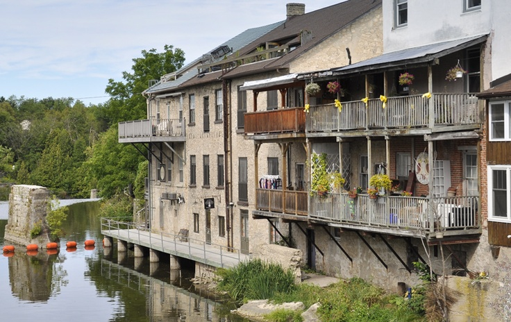 Waterfront buildings in Elora Ontario