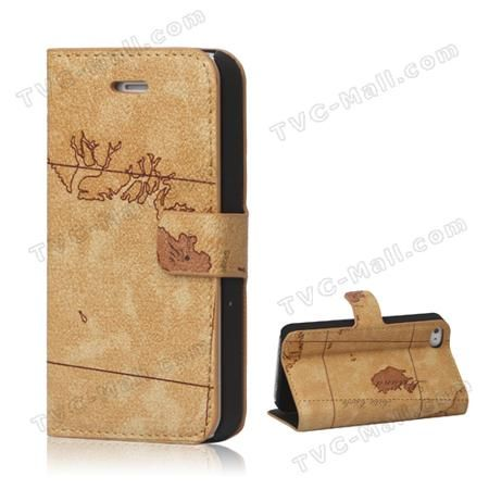 World Map For iPhone 4 4S Flip Leather Wallet Case Cover - Brown  — 2.15 руб. —  iPhone 4S wallet case, made of pu leather material, world map design, wallet style, inner rubberized plastic frame, easy to install and remove, well protective, precisely appropriates for iPhone 4 4S.