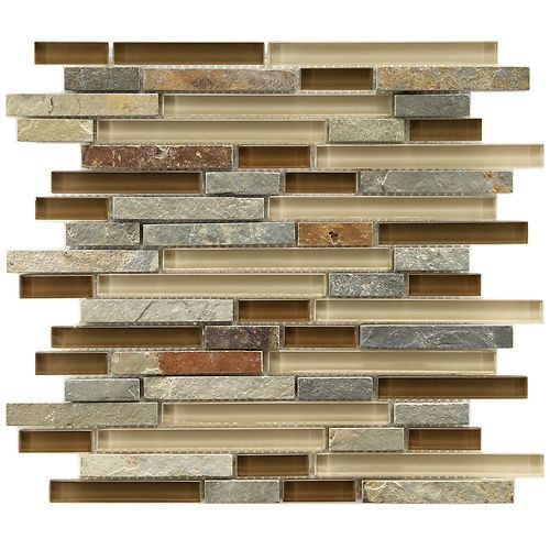 Love this earthy feel backsplash for the kitchen  My new bathroom has this in greens and earth tones