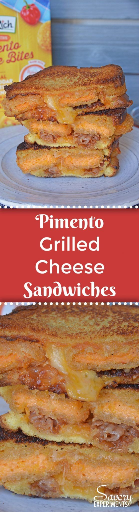 Pimento Grilled Cheese Sandwiches are the ultimate grilled cheese recipe. Zesty pimento cheese bites with bacon, gouda, cheddar and red pepper jelly on thick cut potato bread.#grilledcheesesandwichrecipes #pimentocheese #farmrich AD www.savoryexperiments.com