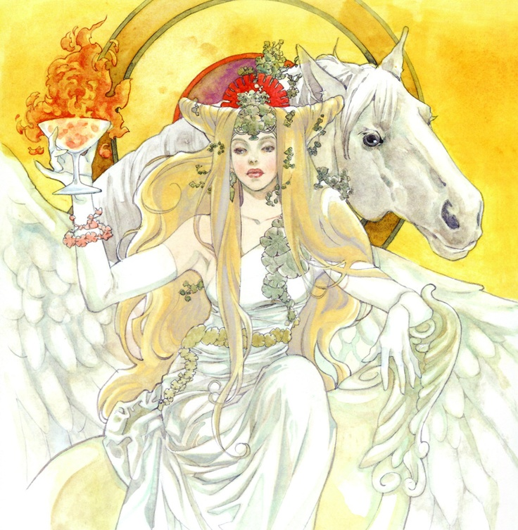 Art of woman with horse & goblet of fire by manga artist Natsuki Sumeragi.