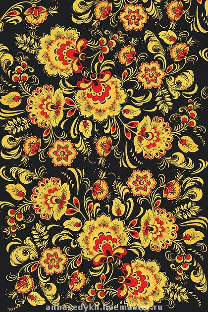 """Шитье ручной работы. Ярмарка Мастеров - ручная работа Ткань """"Хохлома"""". Handmade."""