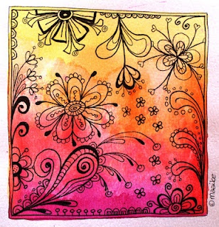 Artistic no-calorie dessert: a blended watercolor background with black doodles on top.