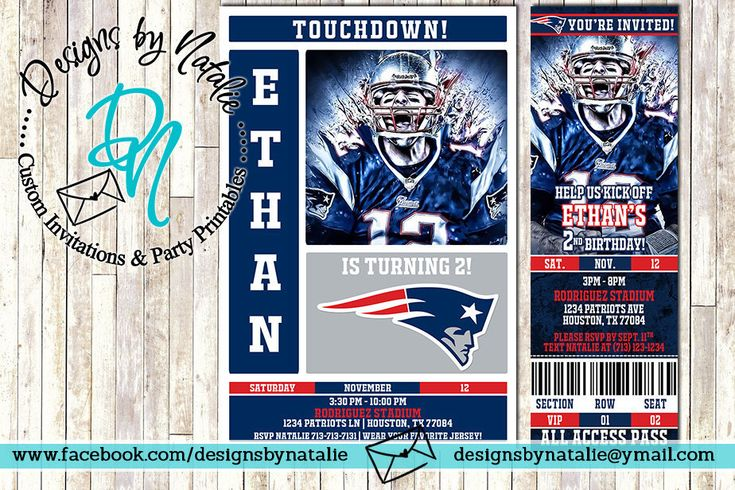 New England Patriots Football Invitation from my Etsy shop https://www.etsy.com/listing/477310339/new-england-patriots-football-invitation