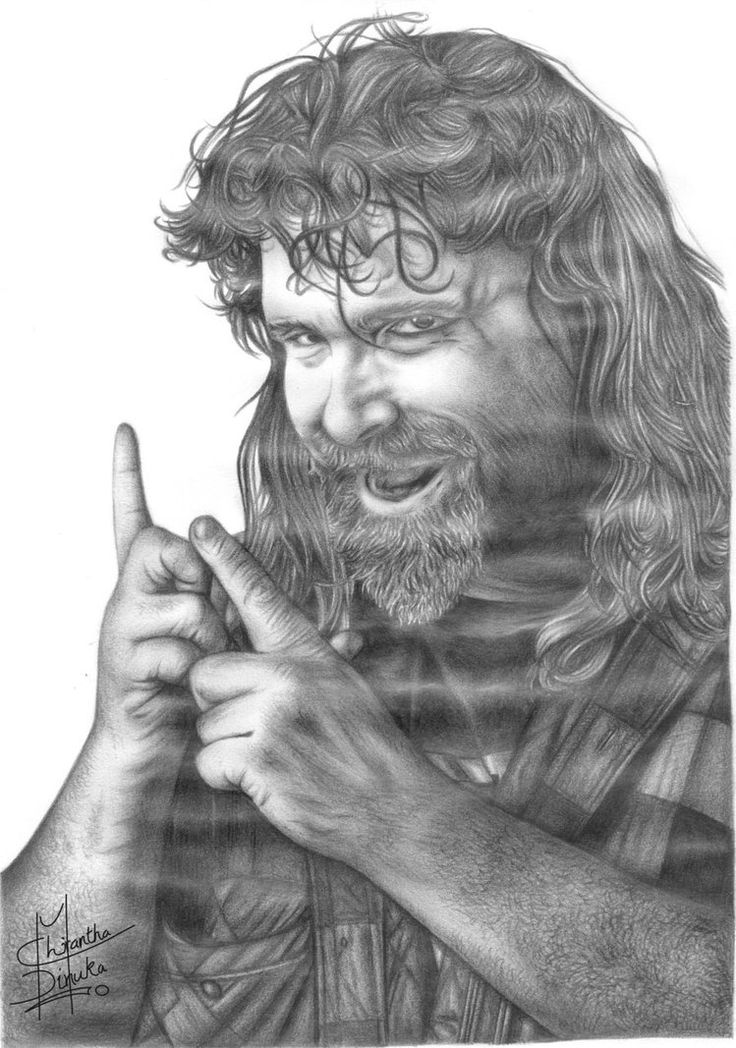 wwe hardcore legend mick foley pencil drawing by chirantha