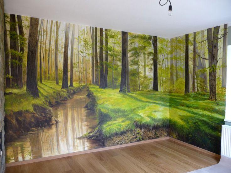 """""""Les s potokem"""" - nástěnná malba 650 x 260 cm - soukromý interiér."""