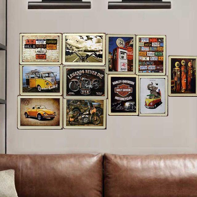 Винтаж железный лист живопись декоративная живопись фон настенной живописи в барах и кафе или ресторан магазин одежды