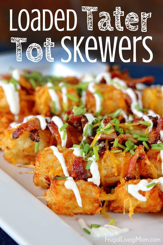 Football appetizers?  These Loaded Tater Tots are perfect for a crowd. ad