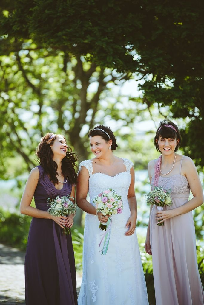 My lovely bridesmaids in purple, blush pink and lace headbands. ♥
