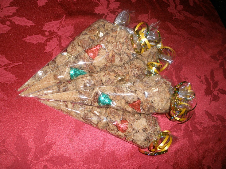 Bags of pralines and Hersheys Kisses. Sheri's recipe.  Great for Christmas gifts for teachers, or hostess gifts