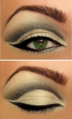 make up: Make Up, Eye Makeup, Cat Eye, Eye Shadows, Beautiful, Green Eyes, Eyemakeup, Eyeshadows, Hair