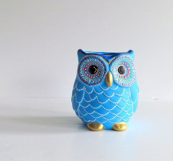 Blue Owl Vase: Small hand painted ceramic Owl by PearlesPainting