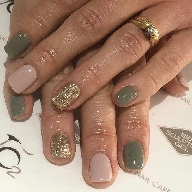 Olive, nude and gold nails