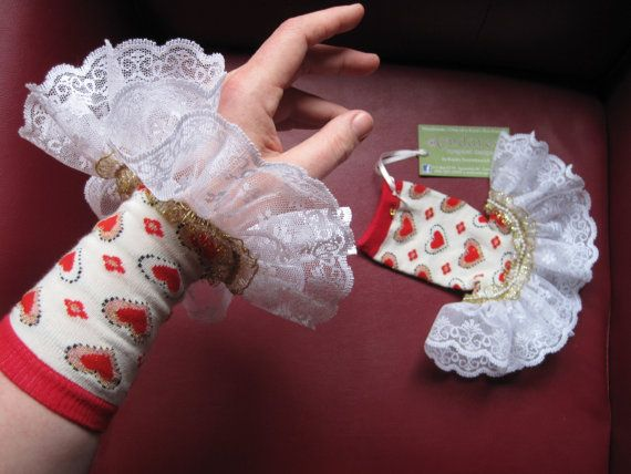 Upcycled Steampunk Heart Gauntlets, Circus Costume Accessory, Red & White, with Lace Trim, Valentine's Day