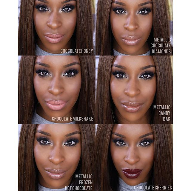 Jackie Aina in the new Too Faced Melted Chocolate lipsticks. Can't wait until these come out!