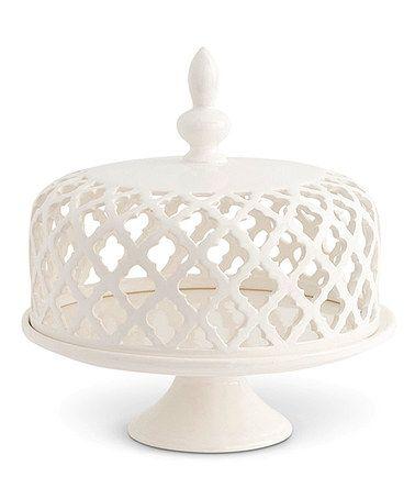 Look what I found on #zulily! White Filigree Ceramic Lid Cake Plate #zulilyfinds