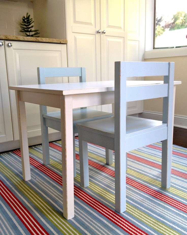 DIY -kids size table and chairs estimated cost is $50 for larger table w solid top and 6 chairs