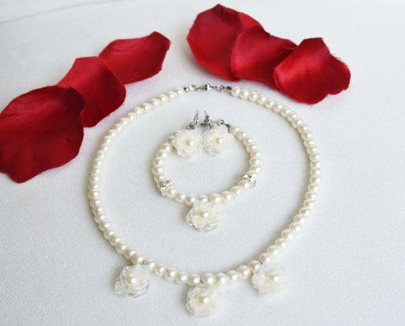 flower girl jewelry set necklace bracelet earrings by sestras