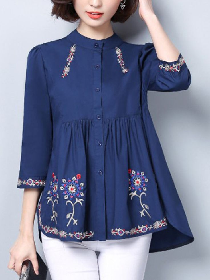 Vintage Embroidered 3/4 Sleeve Stand Collar Blouses For Women