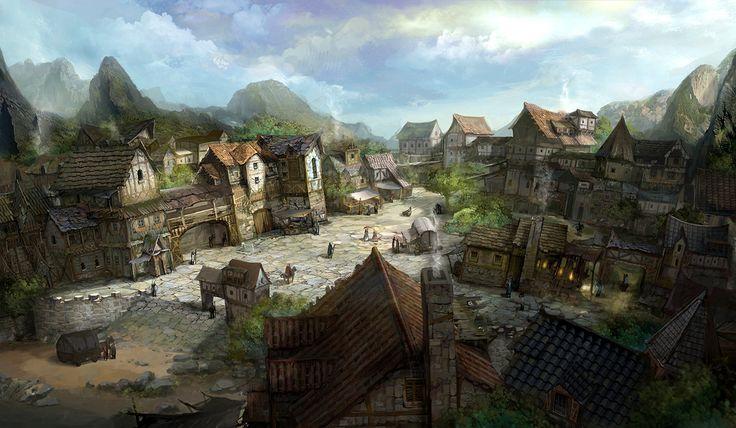 fantasy village medieval mountain town