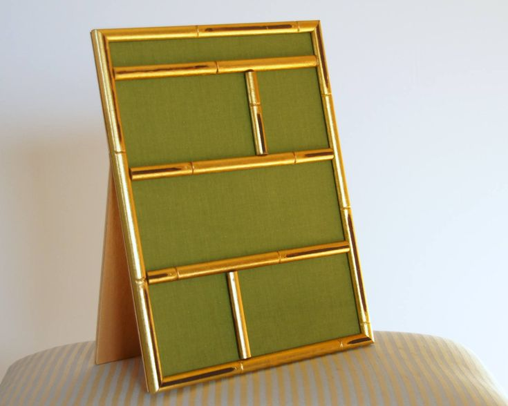 Magnetic Frame, Photo Frame Collage, Standing Easel Frame, Wood Wall Frame, Vintage Asian Frame, Gold Gilt Bamboo by SentimentalFavorites on Etsy