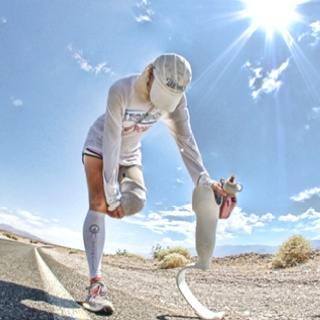 Amy Palmiero-Winters, the first female amputee to complete the Death Valley to Mount Whitney run, the Badwater Ultramarathon. Photo of Amy Palmiero-Winters ...