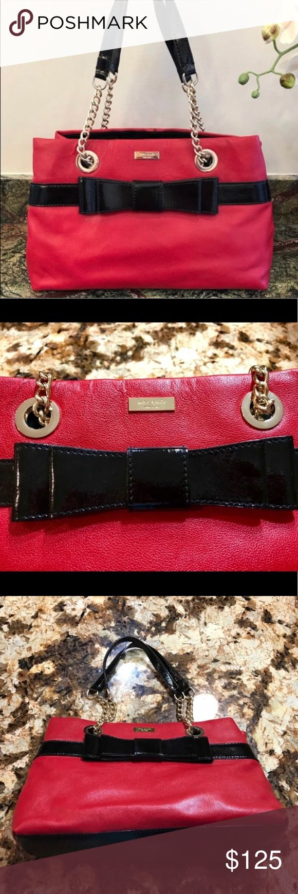 ♠️Red Kate Spade Shoulder Bag♠️ EUC chain strap red leather bag with adorable black bow detail and gold tone hardware. Slight wear on bottom corners but barely noticeable, see photos. Measurements to come but this is a medium size bag. Open to reasonable offers. Bundle for private discount and lower shipping. kate spade Bags