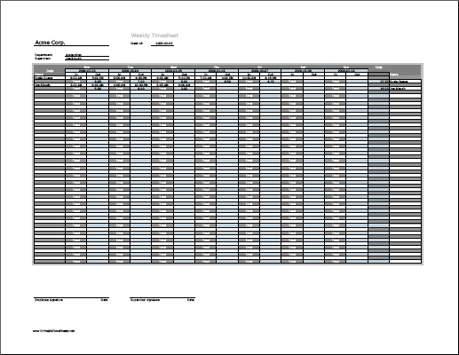 Weekly Multiple-Employee Timesheet Printable Time Sheets, free to download and print