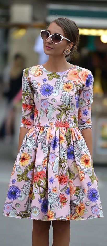 #street #fashion summer / Dolce & Gabbana flower print dress @wachabuy