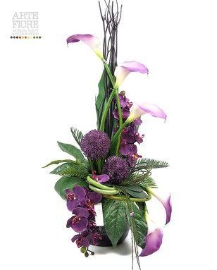 Composizione floreale fiori artificiali in tessuto: Calle e Allium Grande