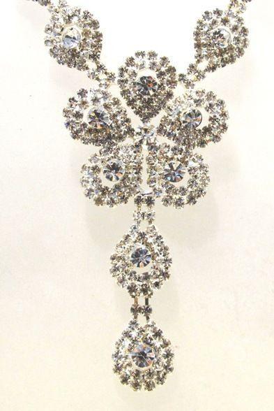 Silver Diamante Crystal Necklace Rhinestone Bridal Formal Prom Bling Pearl CZ