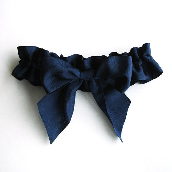 Big Bow Garter In Navy Blue Vintage Ribbon From A Alicia Wedding