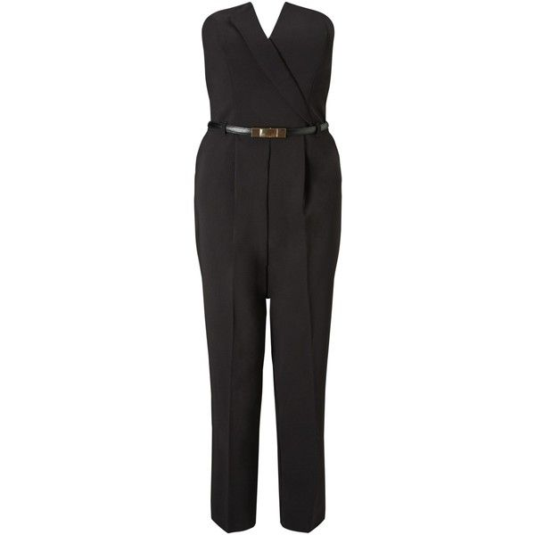 Miss Selfridge Tux Jumpsuit, Black ($73) ❤ liked on Polyvore featuring jumpsuits, dinner suit, v neck strapless jumpsuit, miss selfridge jumpsuit, strapless pleated jumpsuit and long jumpsuits