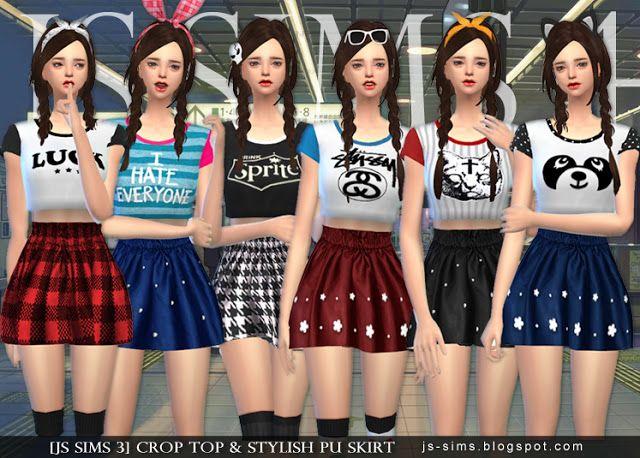 Crop Top & Stylish PU Skirt at JS Sims 4 via Sims 4 Updates